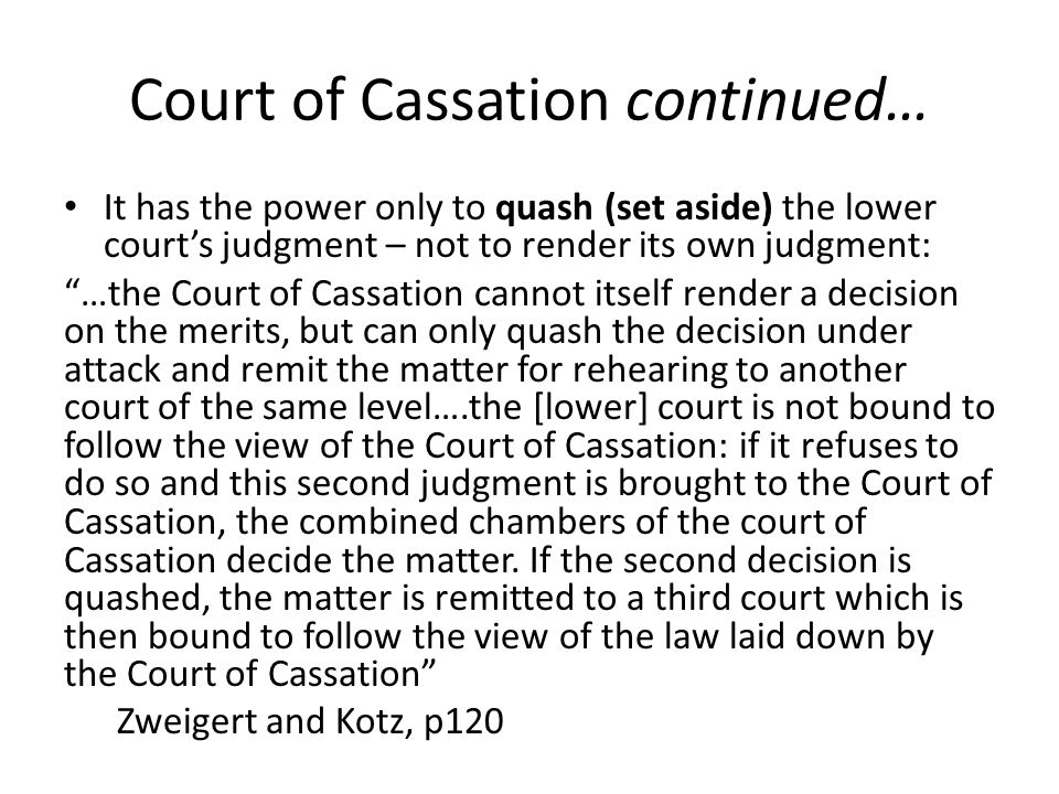 Court of Cassation continued…