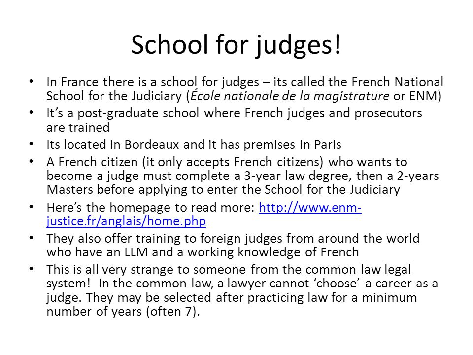School for judges!