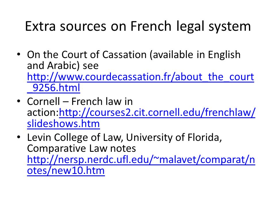Extra sources on French legal system