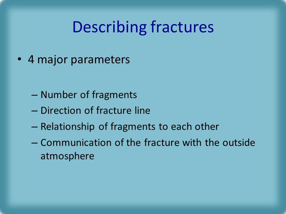 Describing fractures 4 major parameters Number of fragments