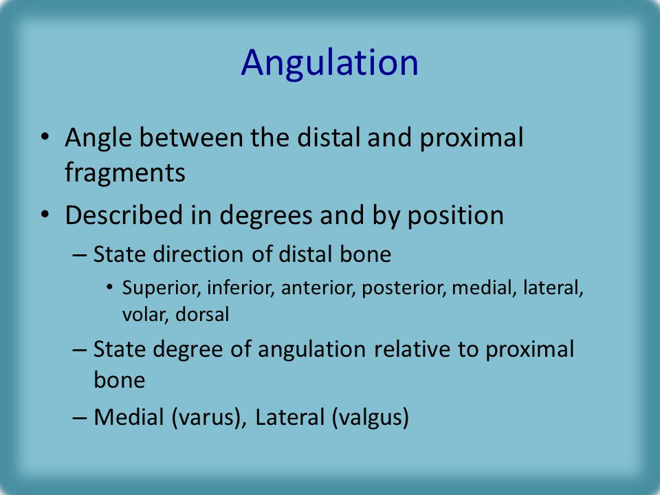 Angulation Angle between the distal and proximal fragments