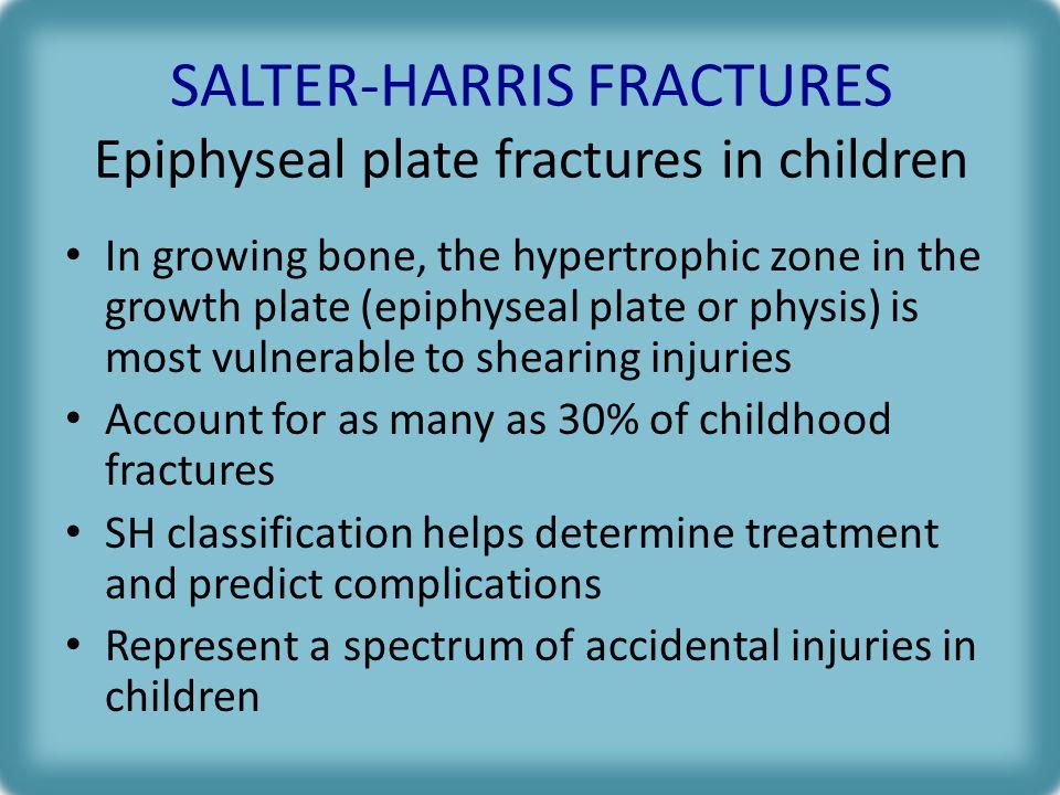 SALTER-HARRIS FRACTURES Epiphyseal plate fractures in children
