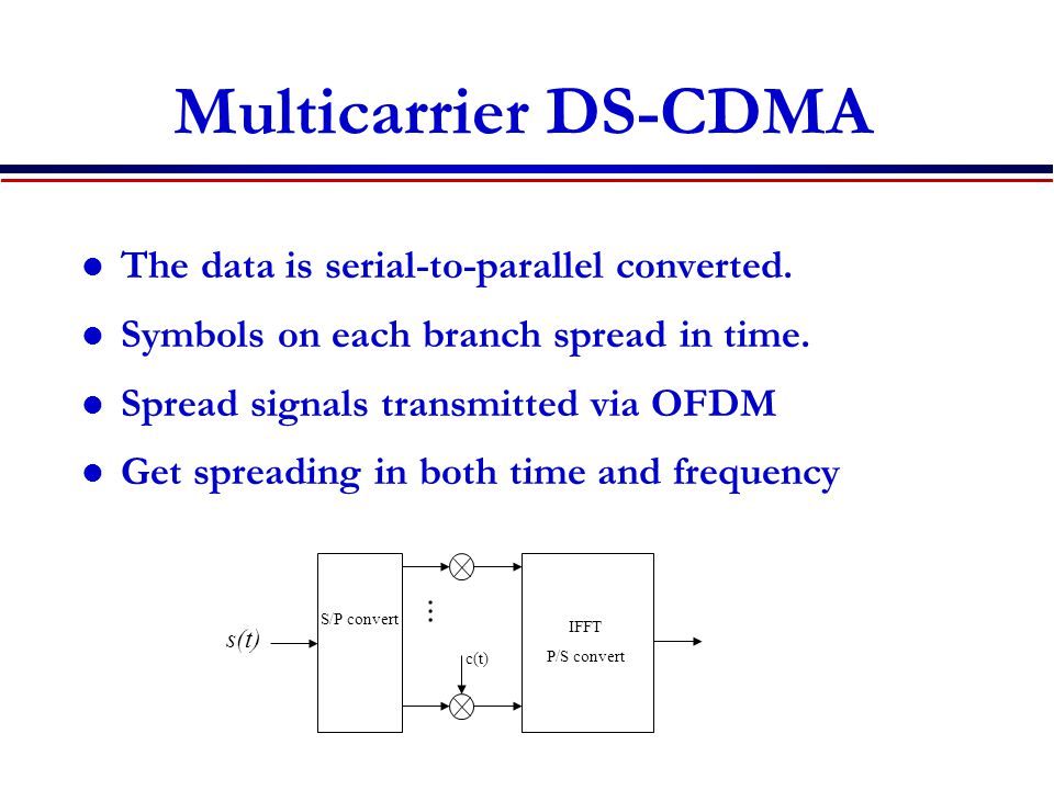 Multicarrier DS-CDMA The data is serial-to-parallel converted.