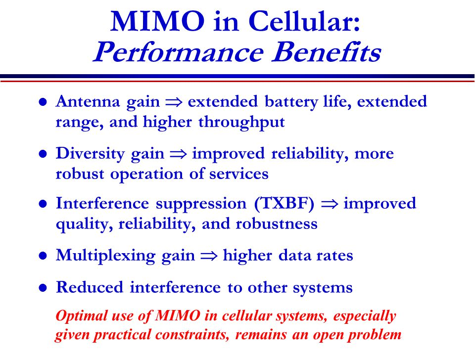 MIMO in Cellular: Performance Benefits
