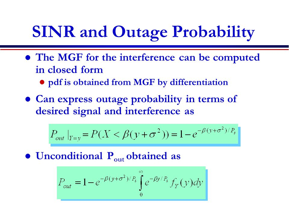 SINR and Outage Probability