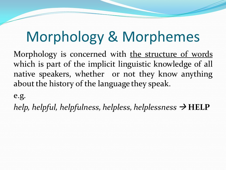 Morphology & Morphemes
