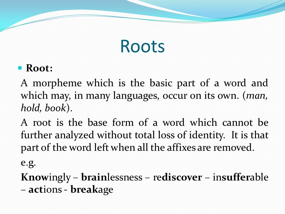 Roots Root: A morpheme which is the basic part of a word and which may, in many languages, occur on its own. (man, hold, book).