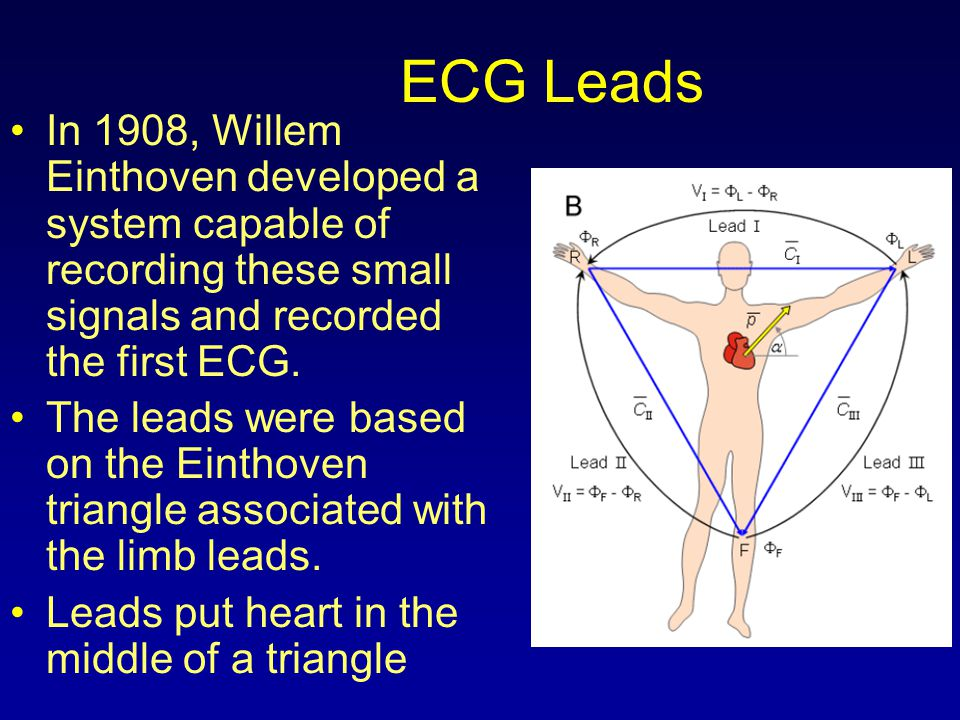 ECG Leads In 1908, Willem Einthoven developed a system capable of recording these small signals and recorded the first ECG.