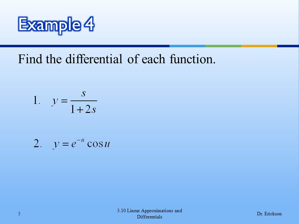 3.10 Linear Approximations and Differentials