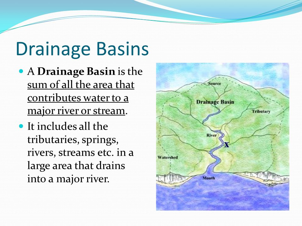 Drainage Basins A Drainage Basin is the sum of all the area that contributes water to a major river or stream.