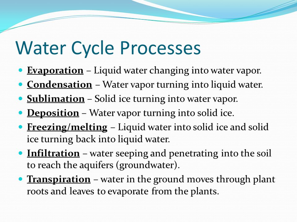 Water Cycle Processes Evaporation – Liquid water changing into water vapor. Condensation – Water vapor turning into liquid water.