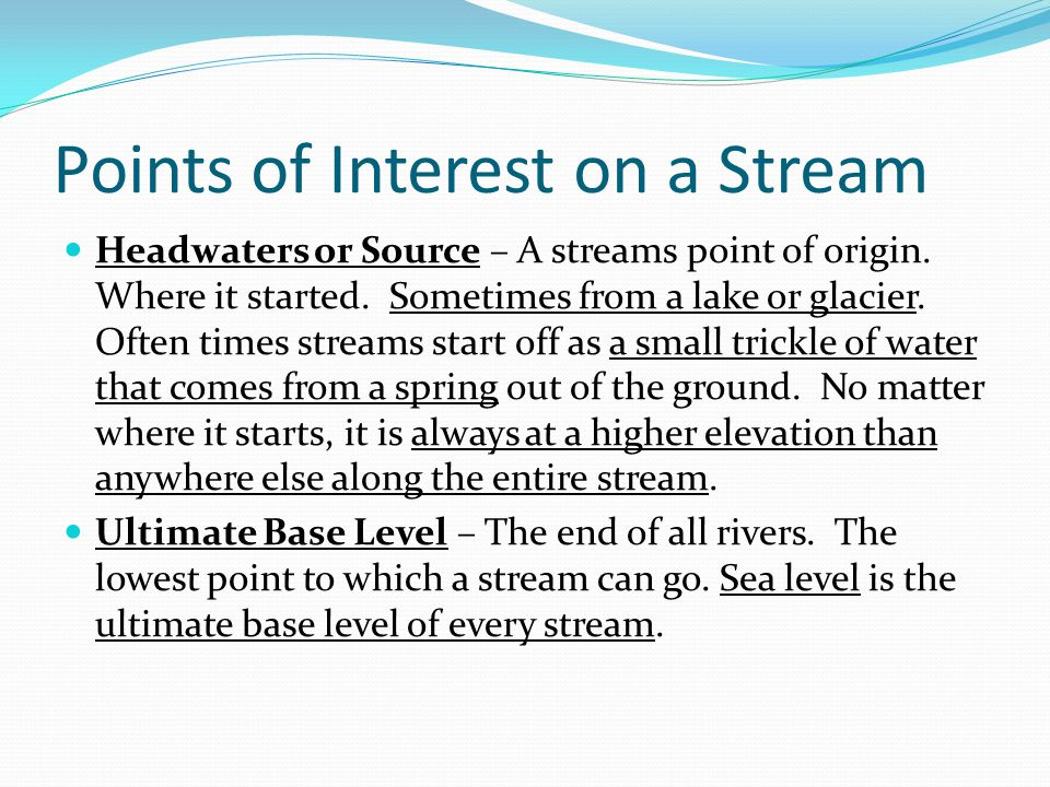 Points of Interest on a Stream