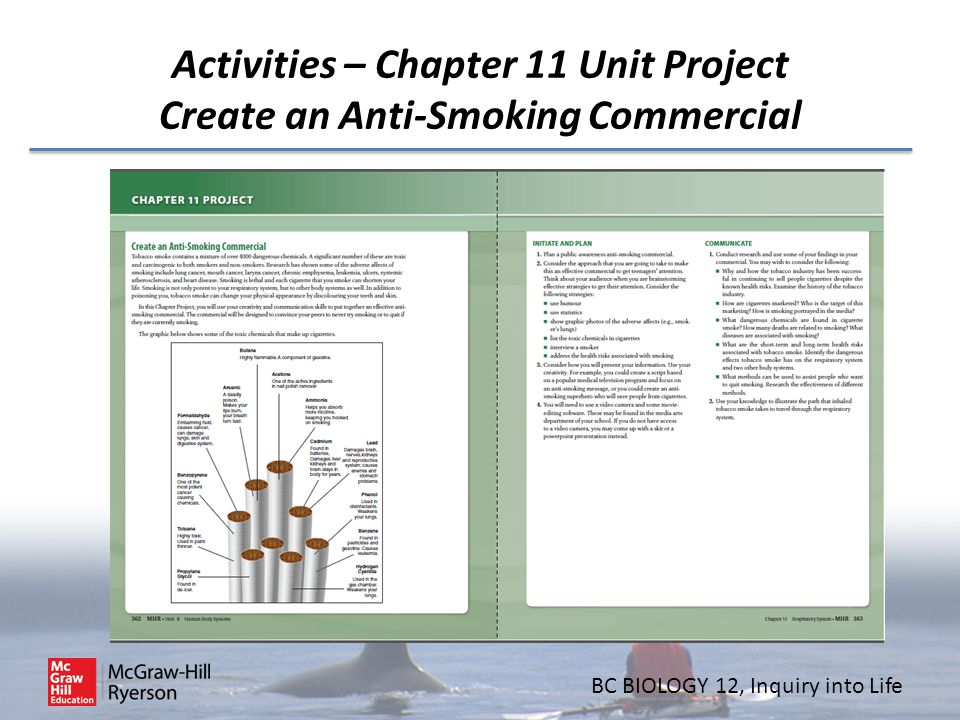 Activities – Chapter 11 Unit Project Create an Anti-Smoking Commercial