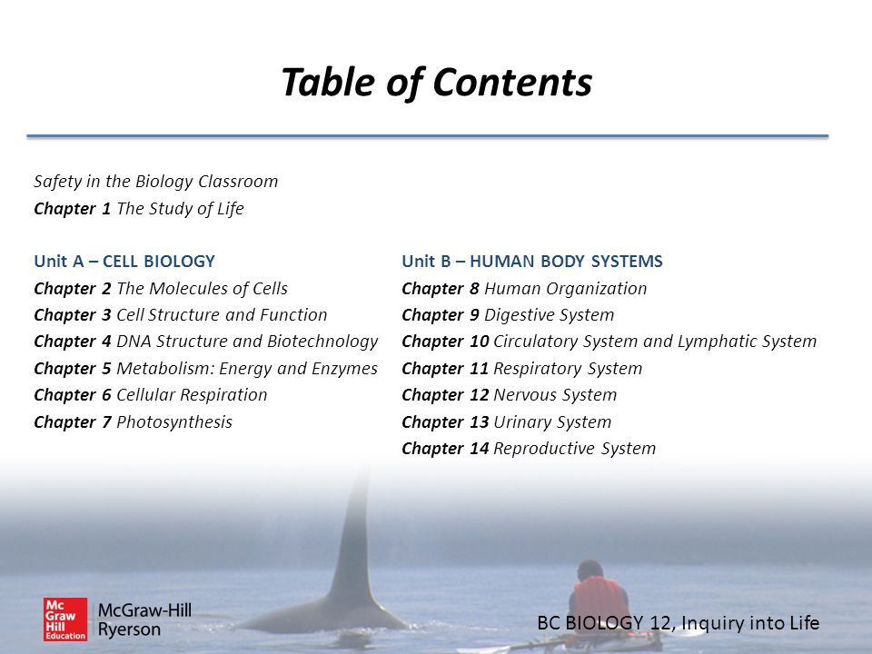 Table of Contents Safety in the Biology Classroom