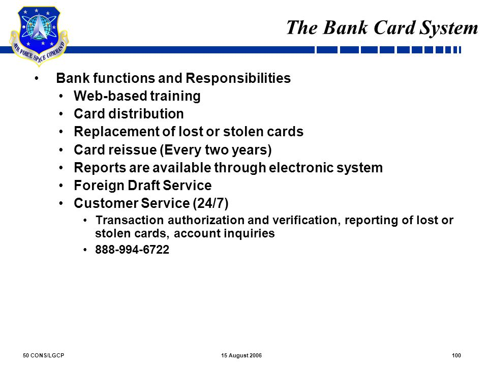 The Bank Card System Bank functions and Responsibilities
