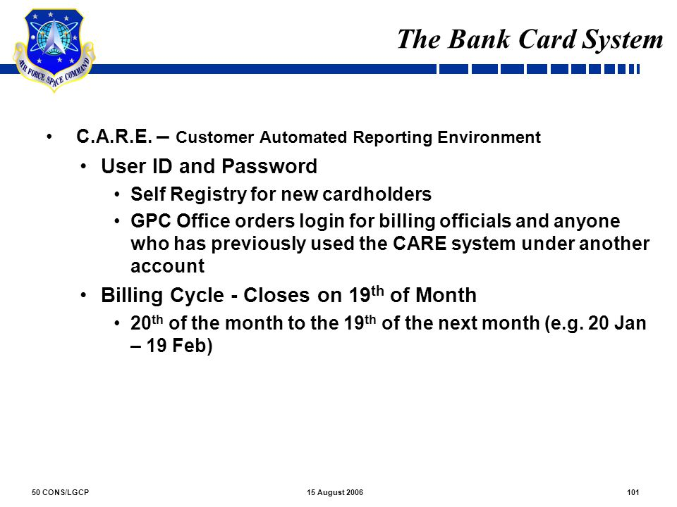 The Bank Card System User ID and Password