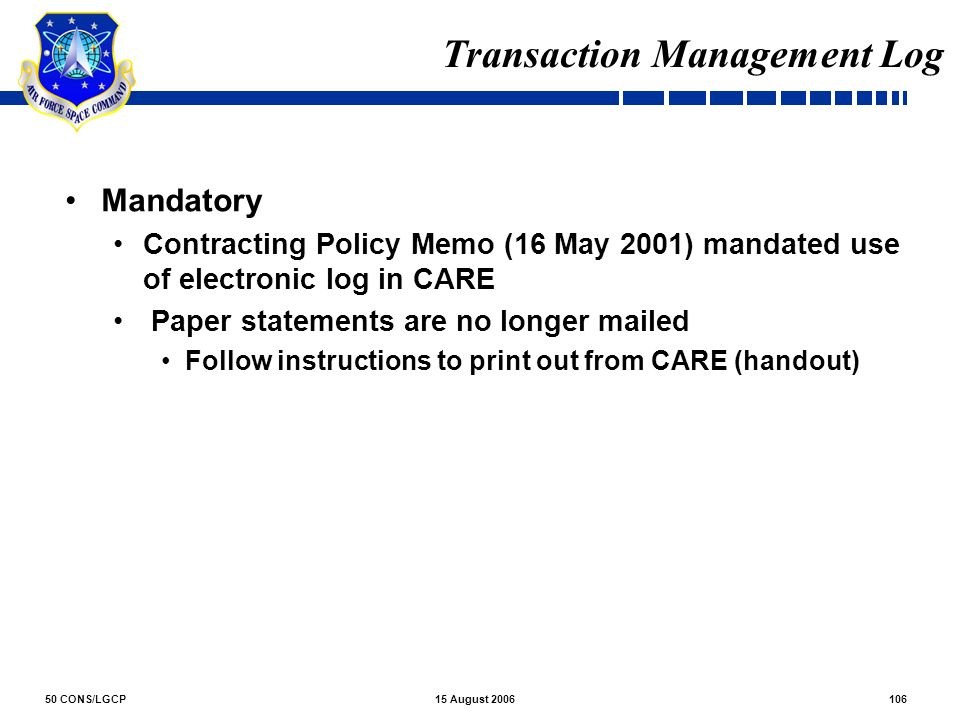 Transaction Management Log