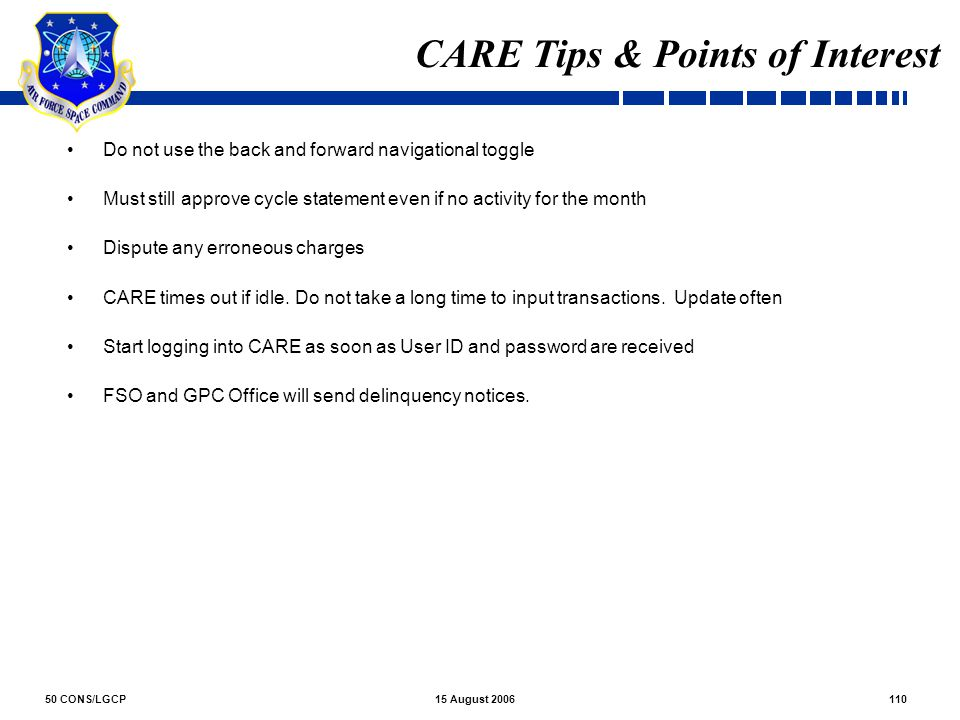 CARE Tips & Points of Interest