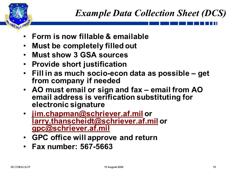 Example Data Collection Sheet (DCS)