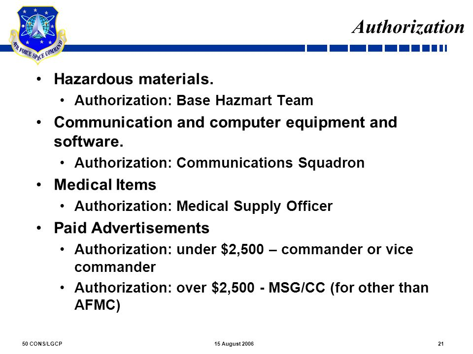 Authorization Hazardous materials.