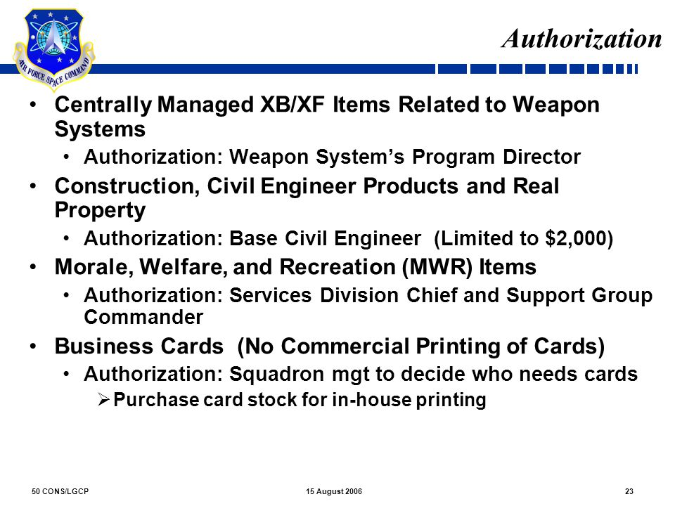 Authorization Centrally Managed XB/XF Items Related to Weapon Systems