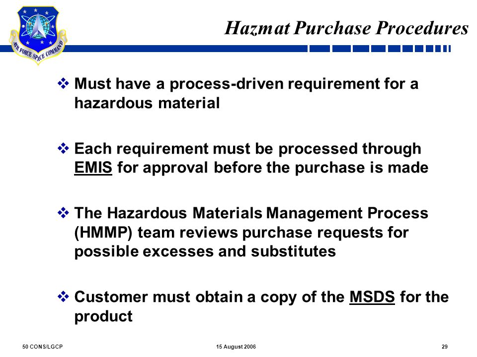 Hazmat Purchase Procedures