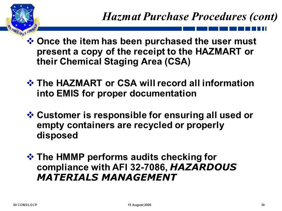 Hazmat Purchase Procedures (cont)