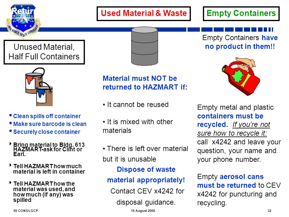 Dispose of waste material appropriately!