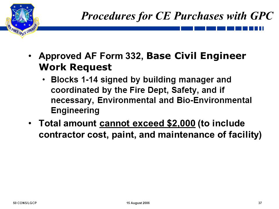 Procedures for CE Purchases with GPC