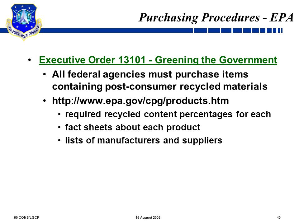 Purchasing Procedures - EPA