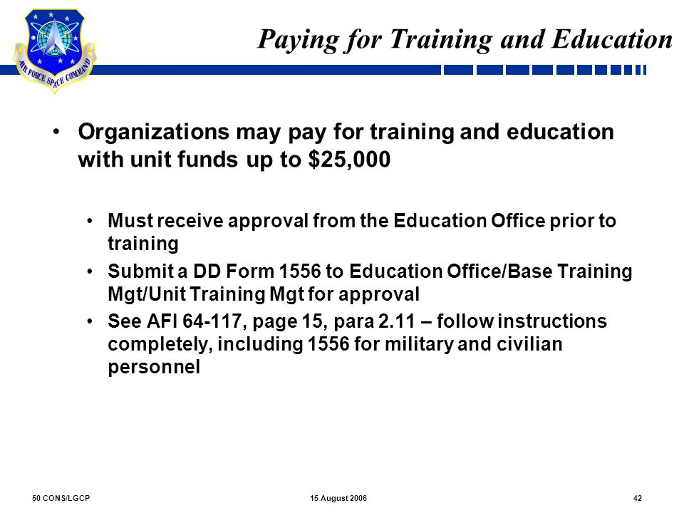 Paying for Training and Education