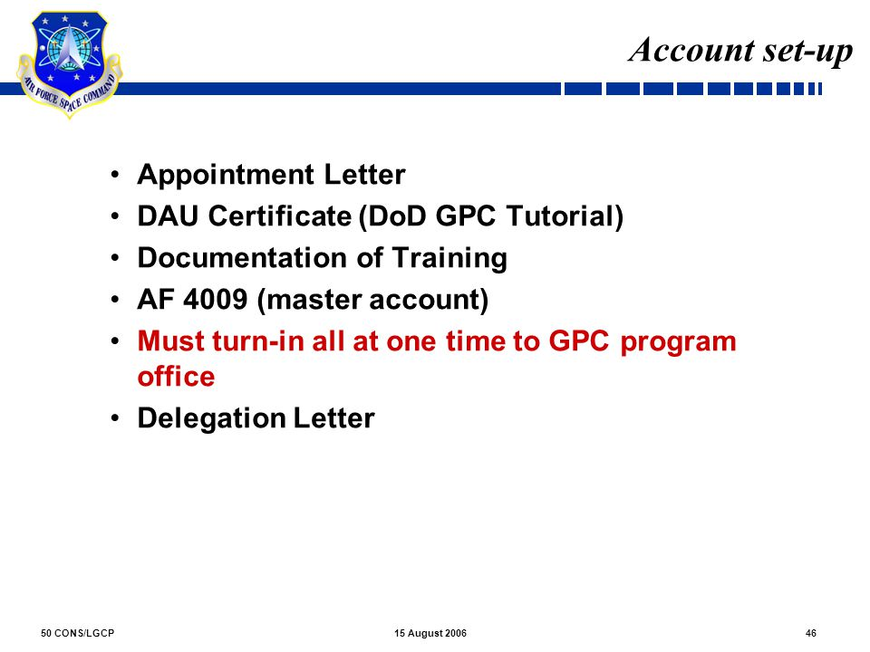 Account set-up Appointment Letter DAU Certificate (DoD GPC Tutorial)