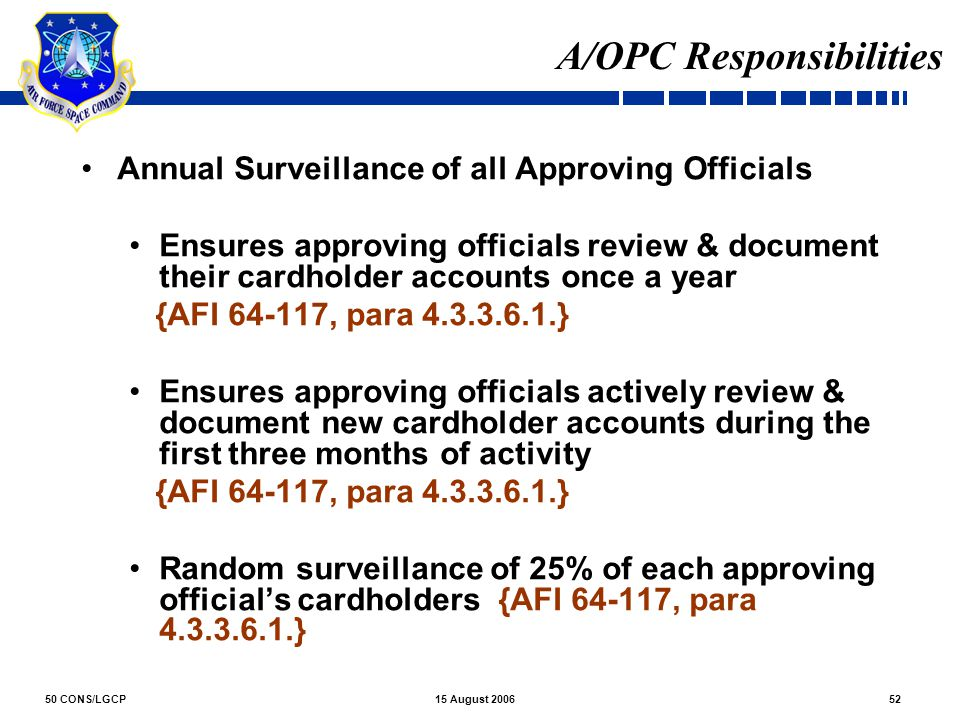 A/OPC Responsibilities