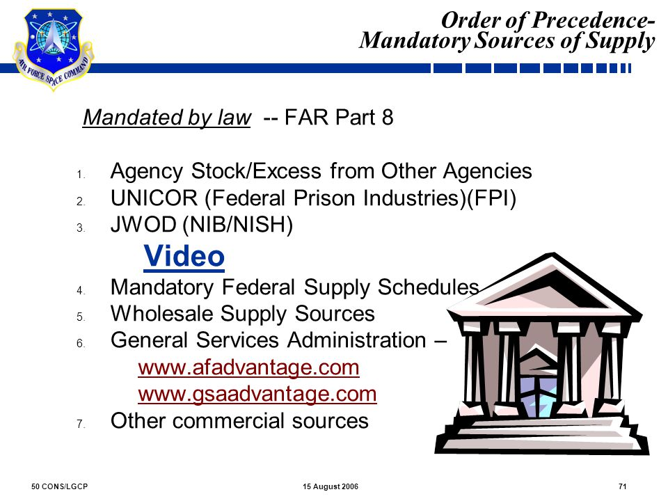Order of Precedence- Mandatory Sources of Supply