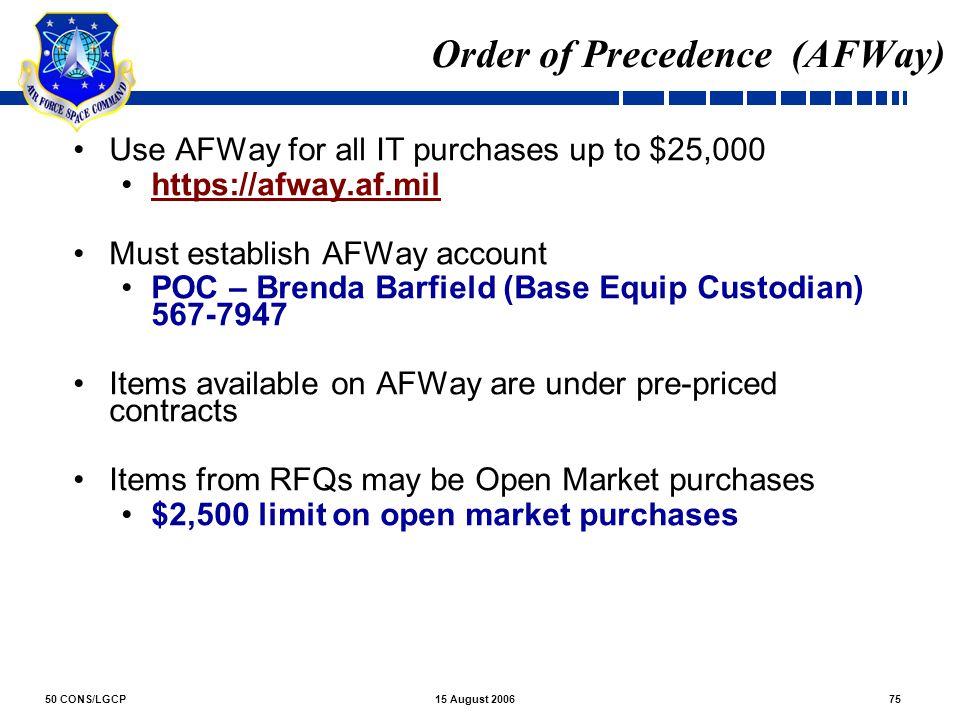 Order of Precedence (AFWay)