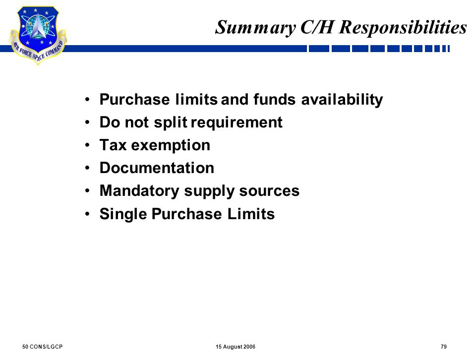 Summary C/H Responsibilities
