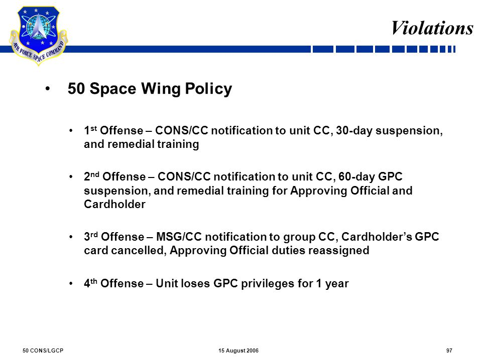 Violations 50 Space Wing Policy