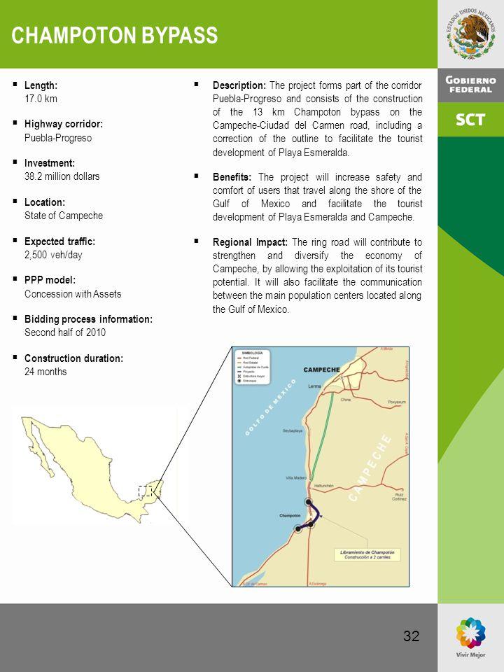 CHAMPOTON BYPASS Length: 17.0 km Highway corridor: Puebla-Progreso