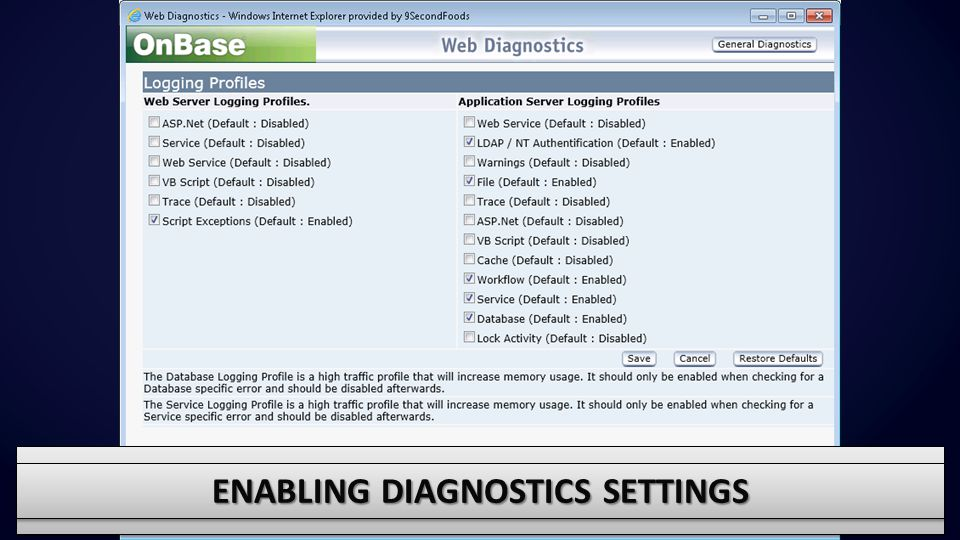 Enabling diagnostics settings