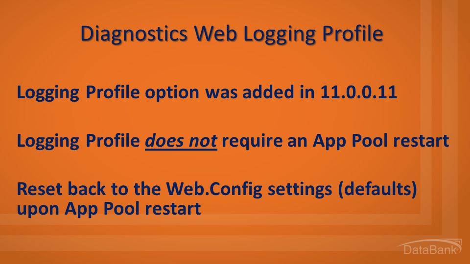 Diagnostics Web Logging Profile