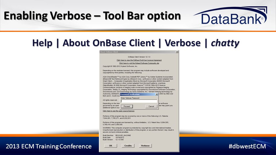Enabling Verbose – Tool Bar option