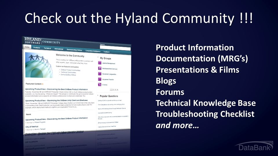 Check out the Hyland Community !!!