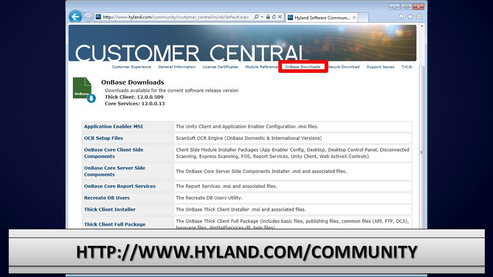 http://www.hyland.com/community There are around a dozen downloadable files in the latest Release version.