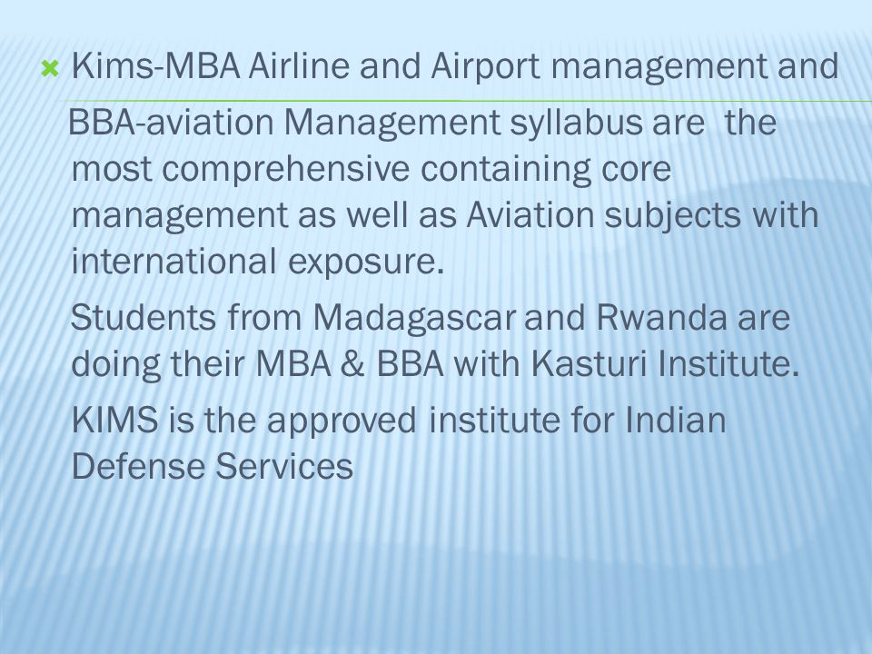 Kims-MBA Airline and Airport management and