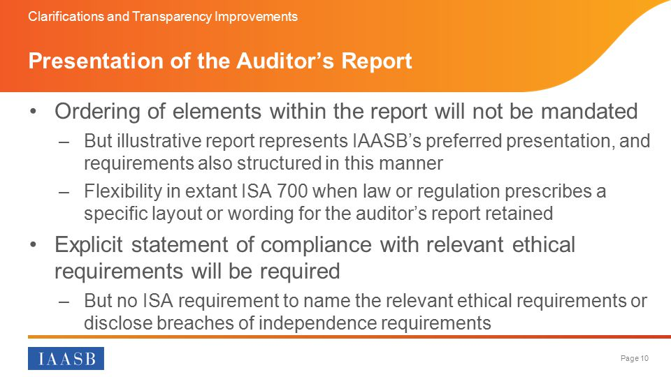Presentation of the Auditor's Report