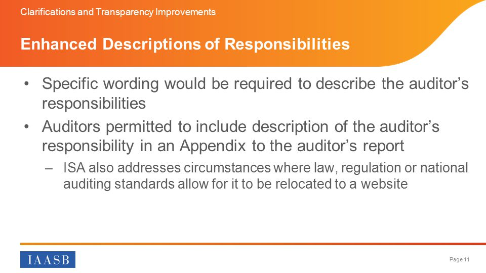 Enhanced Descriptions of Responsibilities