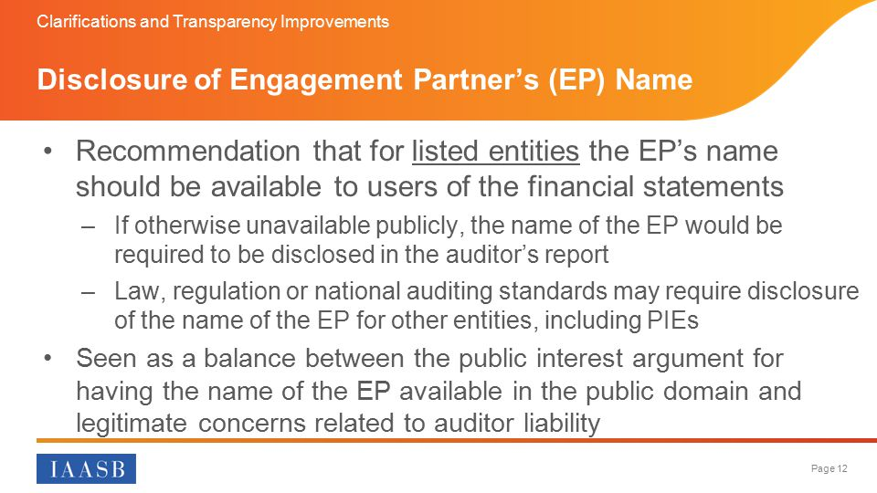 Disclosure of Engagement Partner's (EP) Name