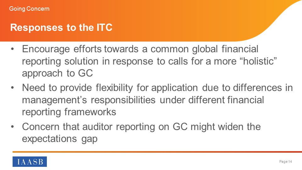Concern that auditor reporting on GC might widen the expectations gap