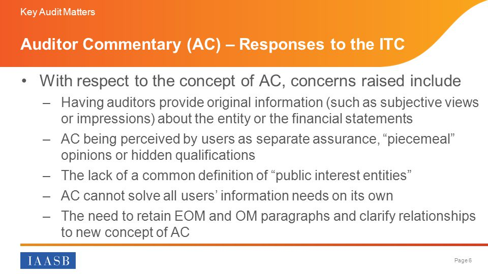 Auditor Commentary (AC) – Responses to the ITC