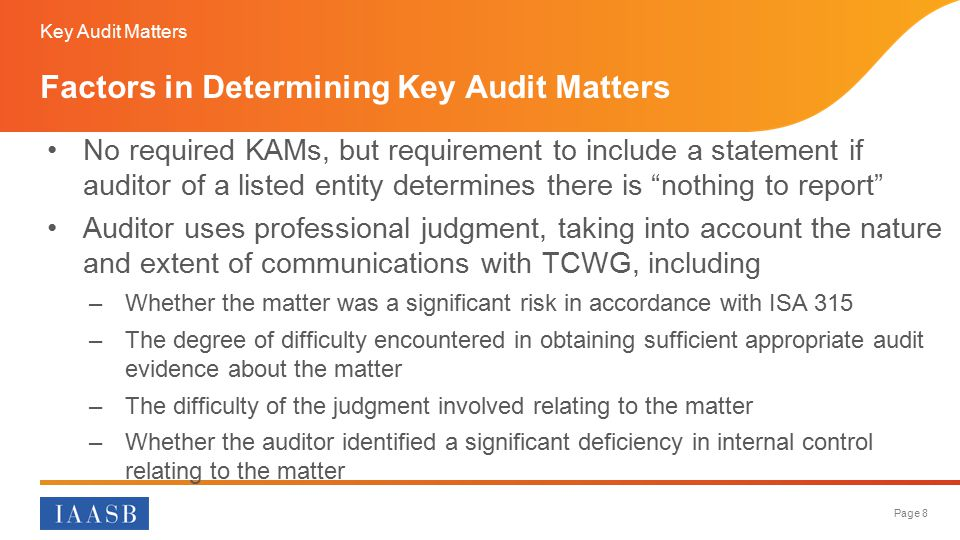 Factors in Determining Key Audit Matters